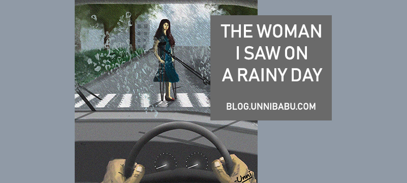 woman rainy day art, helpless woman art, handicapped woman art