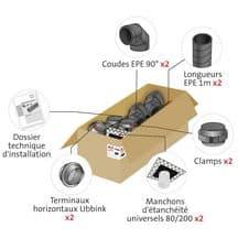 Kit raccordement chauffe-eau Thermodynamique UBBINK – pour air extérieur – diamètre 160 -étanche à l'air