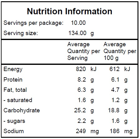 Savoury Brown & Sweet Potato Rice Slice Nutrition