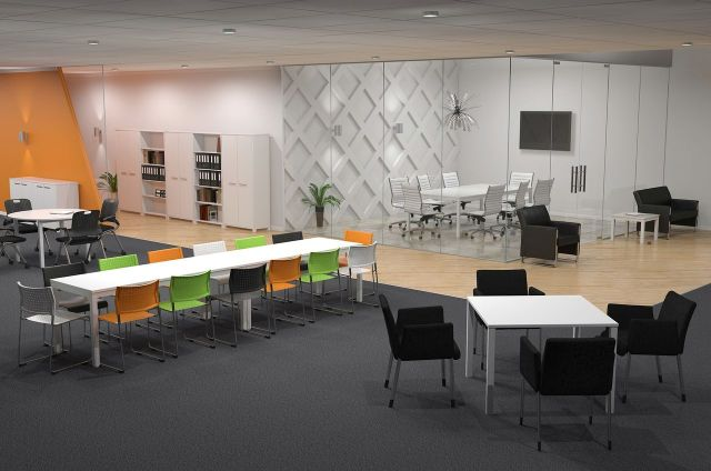 AxisTableCollaboration_Layout Workstation Design: 5 Inspiring Office Workstation Layout Examples Future of Work