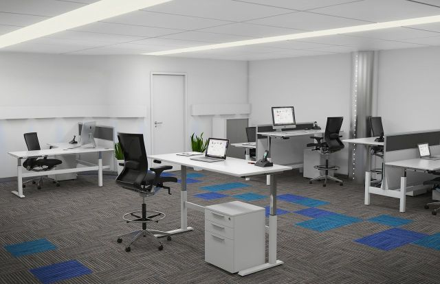 Axis_HeightAdjustableDesks_OfficeLayout Workstation Design: 5 Inspiring Office Workstation Layout Examples Future of Work
