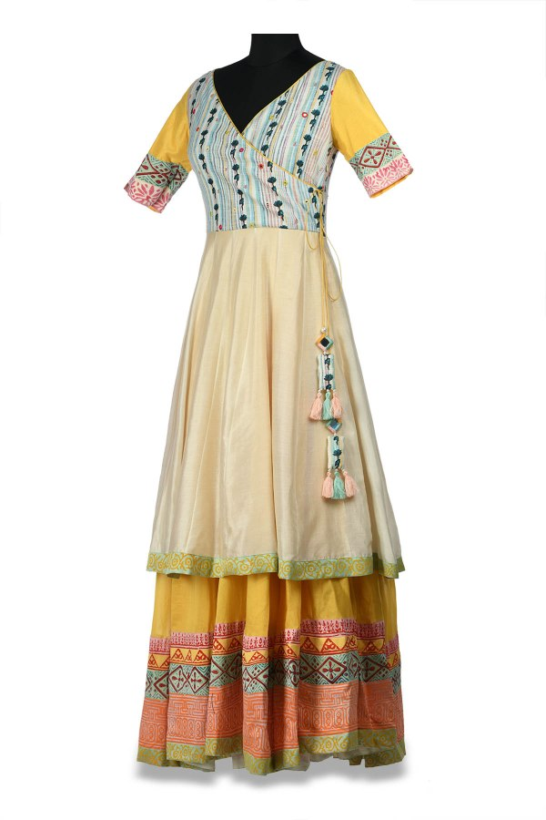 Printed and Embroidered Anarkali with Block Prints