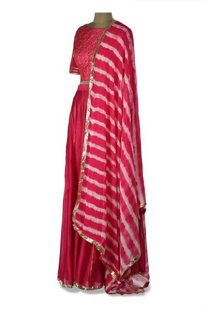 Embroidered Pink Lehenga and Leheriya Dupatta