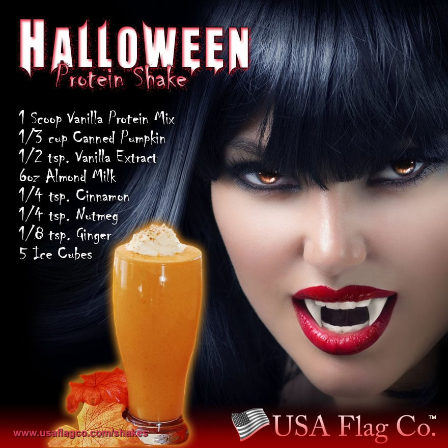 When black cats prowl and pumpkins gleam, may luck be yours on Halloween. Try this spooky Halloween Protein Shake Recipe: Happy Halloween!