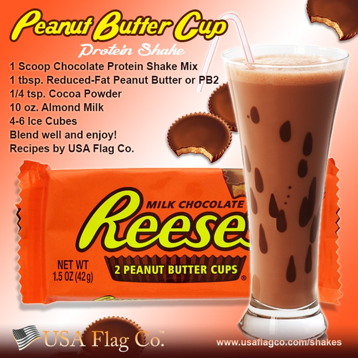The perfect combination of chocolate and peanut butter, this Peanut Butter Cup Protein Shake is the perfect healthy snack for movies, sports, and parties.