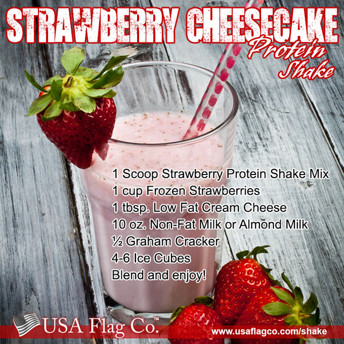 Strawberry Cheesecake Protein Shake Recipe - Strawberry whey protein powder, frozen strawberries, low fat cream cheese and sprinkle graham crackers make this Strawberry Cheesecake Protein Shake Recipe insanely delicious!