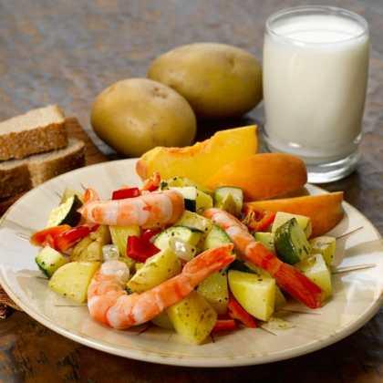 Yellow Potato and Red Pepper Shrimp Saute Recipe