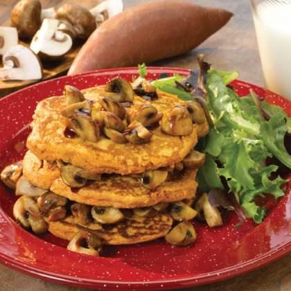 Sweet Potato Pancake Recipe with Balsamic Maple Mushrooms