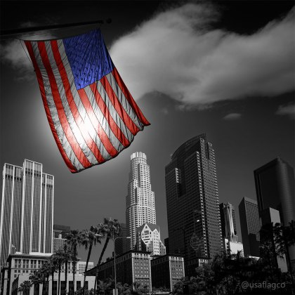 United States flag in black and white LA Downtown Skylines