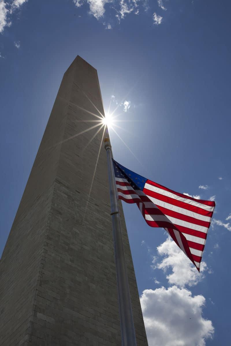 Washington Monument American Flag
