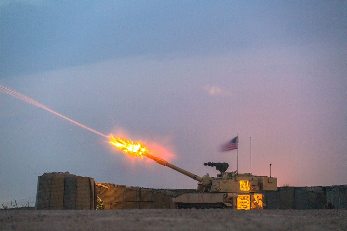 A U.S. Army M109A6 Paladin deployed in support of Combined Joint Task Force -- Operation Inherent Resolve, fires during training operation at Camp Manion Iraq, March 10, 2017. Bravo Battery, 2-82nd Field Artillery, 3rd Brigade, 1st Calvary Division, provides base security in support of Combined Joint Task Force -- Operation Inherent Resolve, the global Coalition to defeat ISIS in Iraq and Syria.