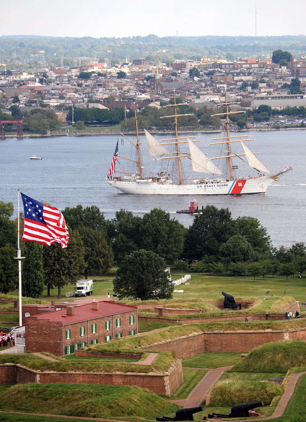 The U.S. Coast Guard barque Eagle departs Baltimore's Inner Harbor during the closing of Star-Spangled Spectacular activities. The Eagle was one of more than 30 naval vessels and tall ships that took part in the Star-Spangled Spectacular.