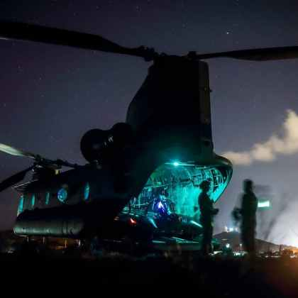 Reconnaissance Marines prepare to conduct Night Time Helo-Casting Training Operations
