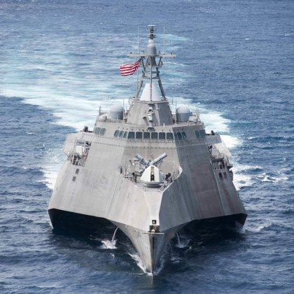 The littoral combat ship USS Coronado (LCS 4) steams ahead during a division tactics exercise in support of Cooperation Afloat Readiness and Training (CARAT) Thailand. CARAT is a series of Pacific Command-sponsored, U.S Pacific Fleet-led bilateral exercises held annually in South and Southeast Asia to strengthen relationships and enhance force readiness.