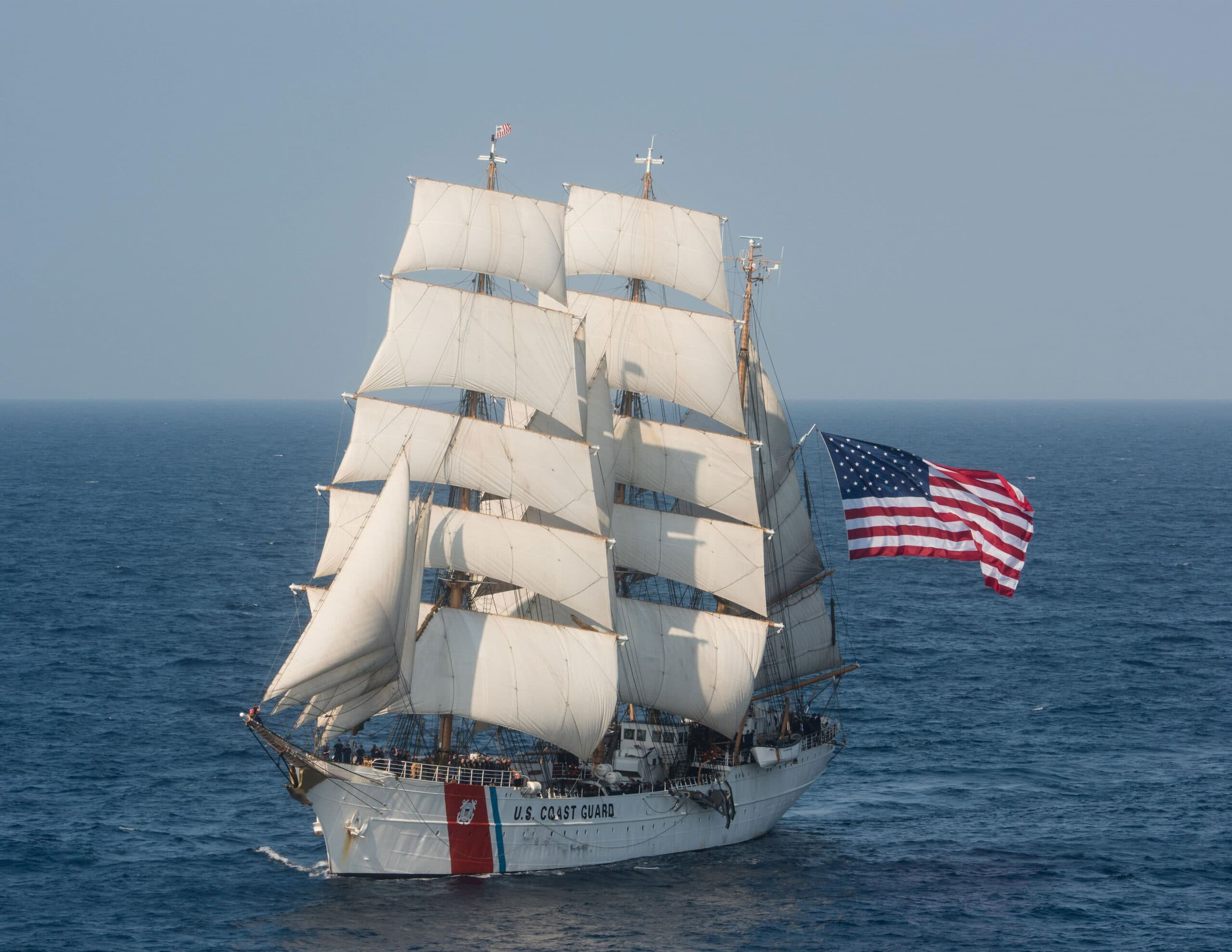 The United States Coast Guard Barque Eagle is the only active commissioned sailing vessel in American military service.