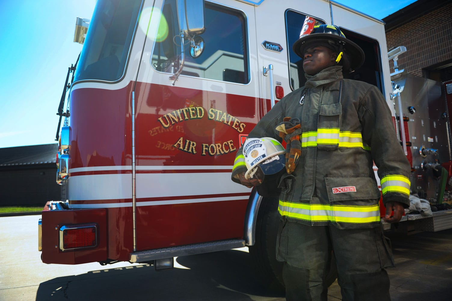 United States Air Force Firefighters: The 19th Civil Engineer Squadron Fire Department is composed of both military and civilian personnel that work as one team to protect life, property and environment within the boundaries of the Air Force installation.