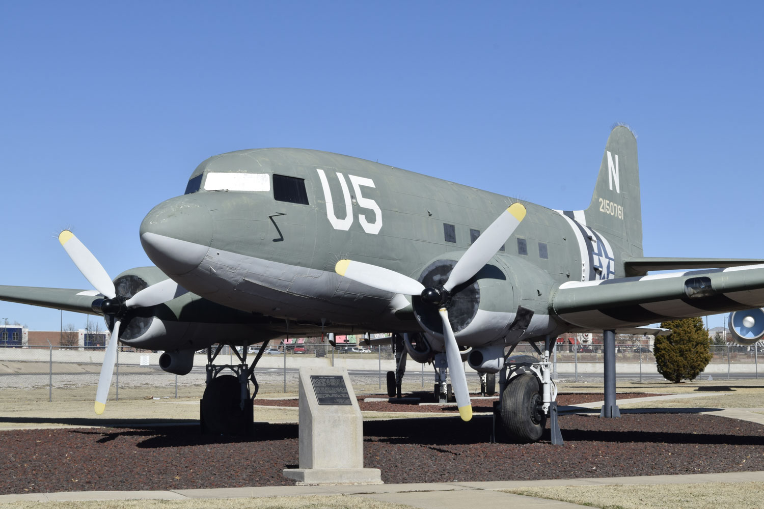 Douglas C-47A Skytrain on display in the Charles B. Hall Memorial Air Park on Feb. 16, 2017, Tinker Air Force Base, Oklahoma. The Douglas aircraft production facility produced 5,231 C-47s in Oklahoma City on what eventually became Tinker Air Force Base.