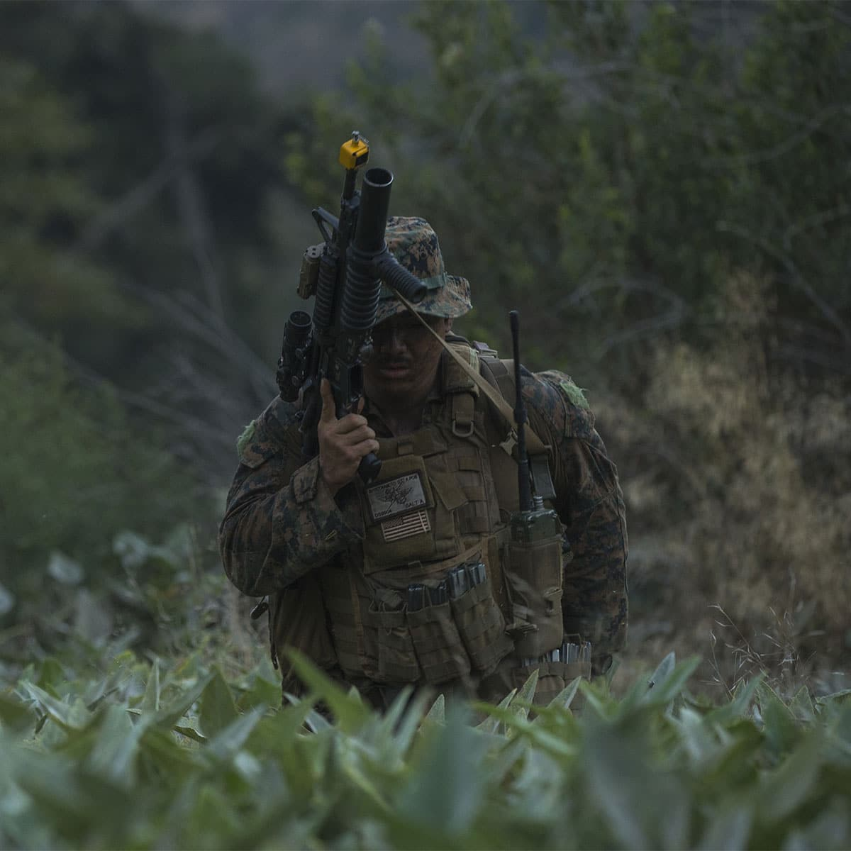 Marine Sgt. David Suyatokamoto, a Marine Corps Fire Control Team Chief, reloads his M16 rifle during a simulated ambush on Camp Pendleton, California. 1st Air Naval Gunfire Liaison Company is conducting training to prepare Marines for future deployments.