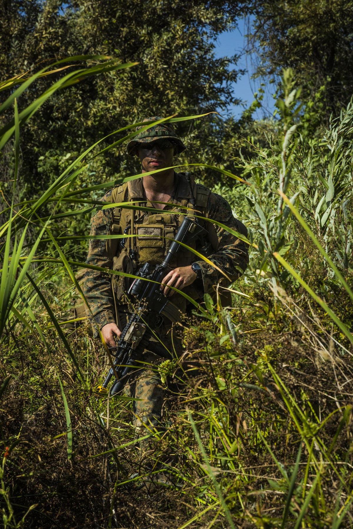 U.S. Marine Corps Cpl. Kyle Stevens, a Joint Fire Observer, leads his Marine Corps fire team during a simulated reconnaissance mission on Camp Pendleton, California.