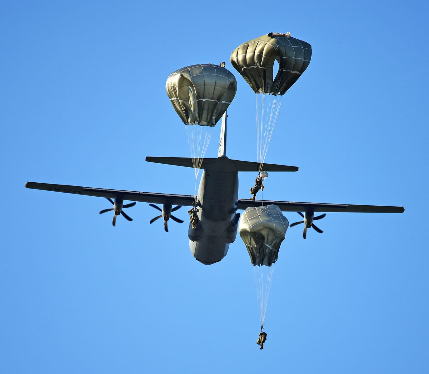 U.S. Army Paratroopers assigned to the 173rd Brigade Support Battalion, 173rd Airborne Brigade, conduct an airborne operation from a U.S. Air Force 86th Air Wing C-130 Hercules aircraft.