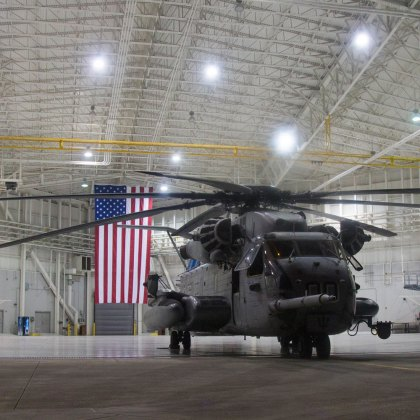 CH-53E Super Stallion Staged in a Hanger Raven 17-06