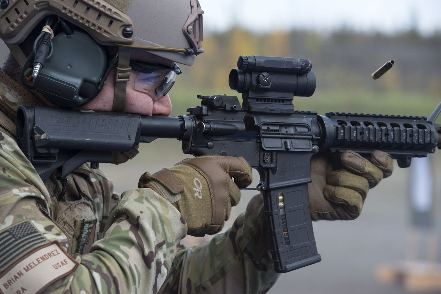 U.S. Air Force Senior Airman Brian Melendrez, a tactical air control party specialist assigned to the 3rd Air Support Operations Squadron, fires a M4 carbine during live-fire sustainment training.