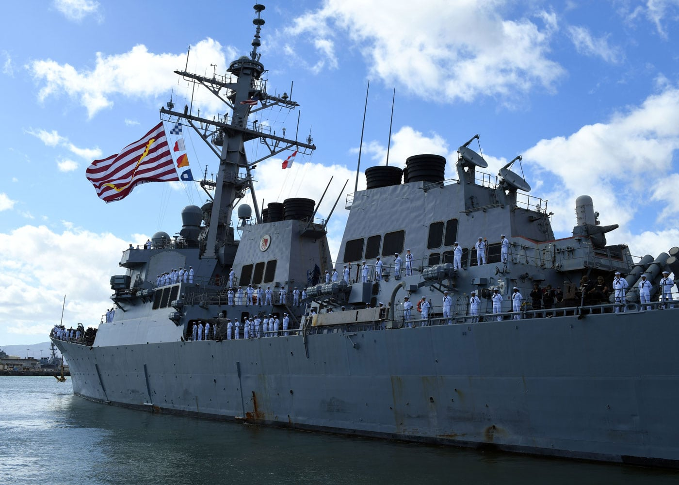 Guided-missile destroyer USS Hopper (DDG 70) departs Joint Base Pearl Harbor-Hickam for its independent deployment to the Western Pacific and Middle East.