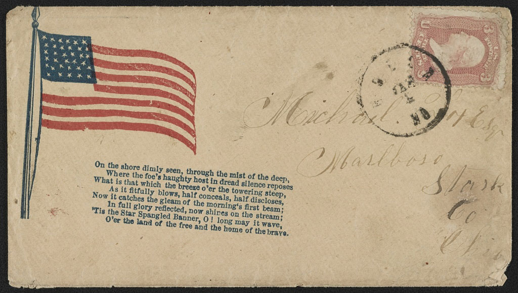 "Civil War envelope showing American flag with second stanza from Francis Scott Key's poem, ""Defence of Fort McHenry""."