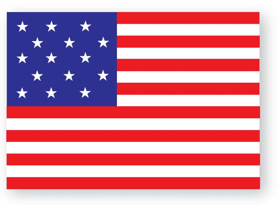 Fifteen Stars and Stripes Flag