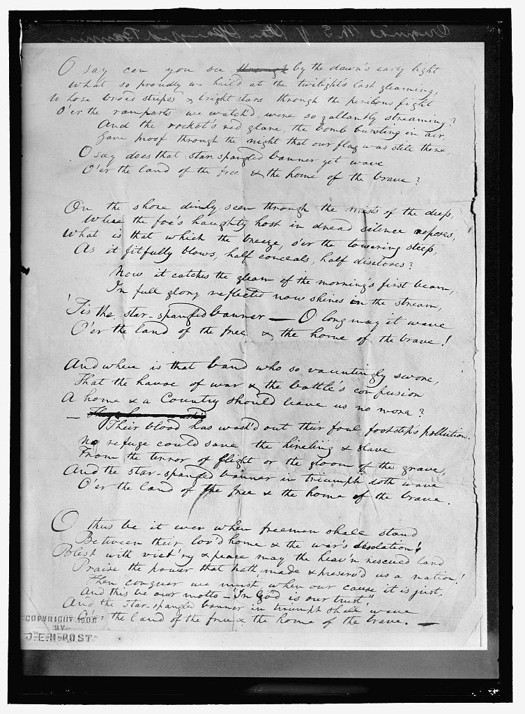 KEY, FRANCIS SCOTT. ORIGINAL MANUSCRIPT OF 'STAR SPANGLED BANNER'