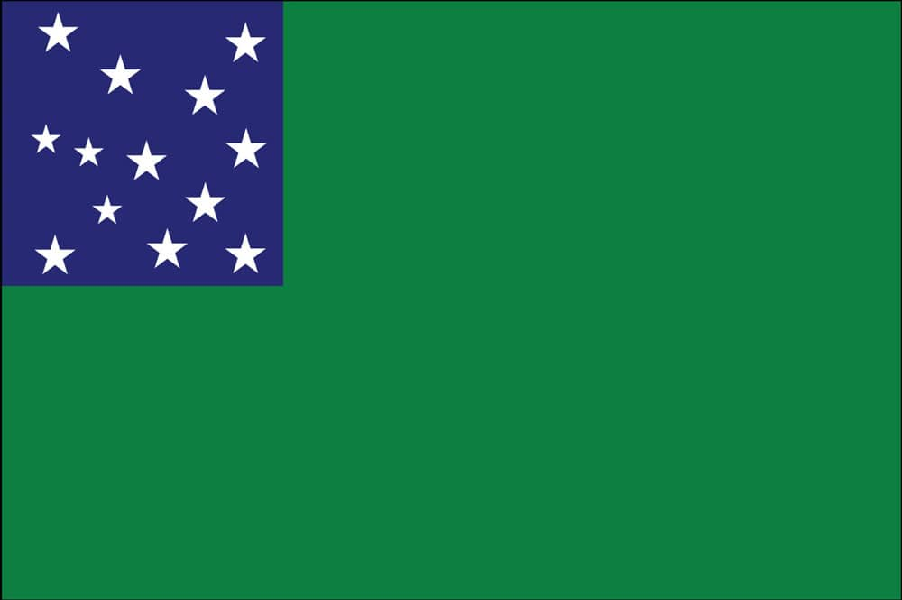the History of Green Mountain Boys flag and General John Stark of New Hampshire commanded a militia brigade known as the Green Mountain Boys.