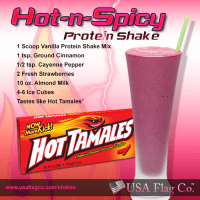 Discover this amazing Hot-n-Spicy Protein Shake Recipe. This weight loss shake is crazy delicious and made of your favorite vanilla protein shake mix, ground cinnamon, cayenne pepper, fresh strawberries and more. Hot-n-Spicy Protein Shake Recipe... Tastes like Hot Tamales!!!