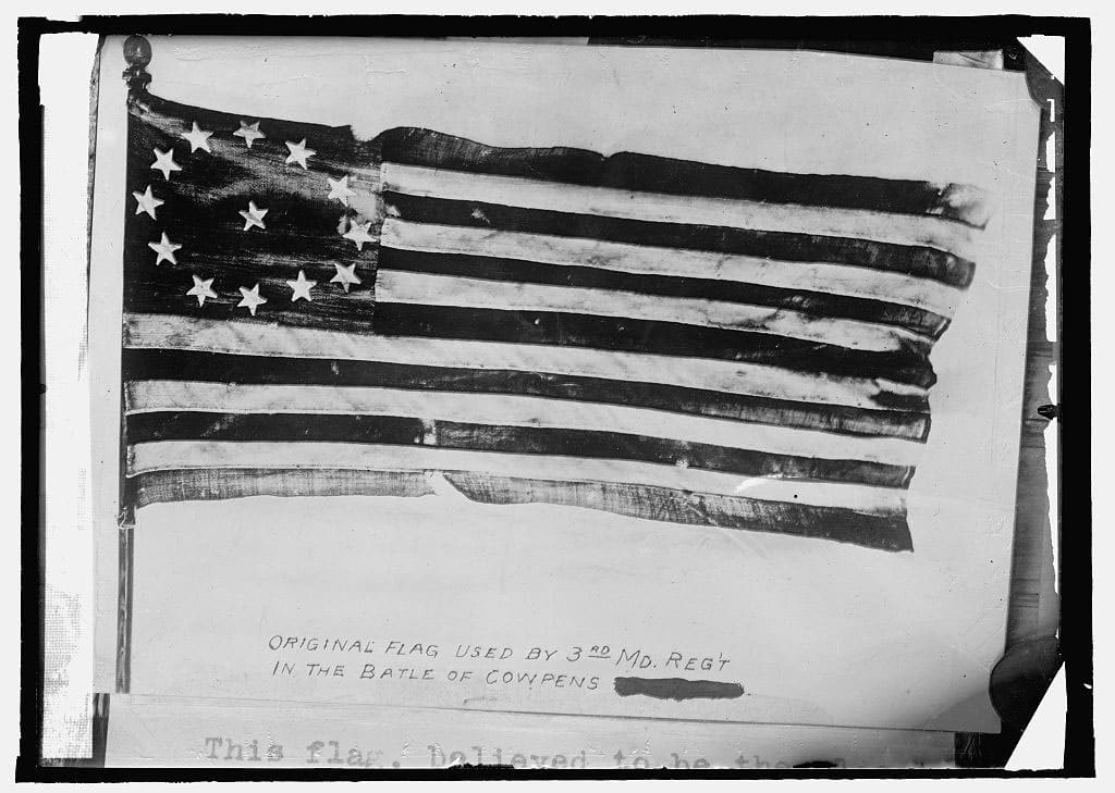Original Cowpens flag used by 3rd Maryland Regiment in Battle of Cowpens made according to act. of Congress 1777.