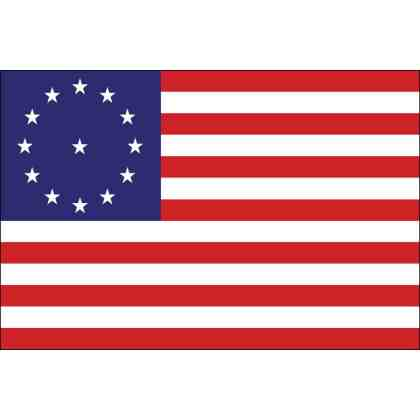 Cowpens Flag: This thirteen-star flag, twelve in a circle with one in the center, was reportedly carried by Color Sergent William Batchelor of the Maryland Light Infantry, ..at the battle of Cowpens, S.C., January 17, 1781.