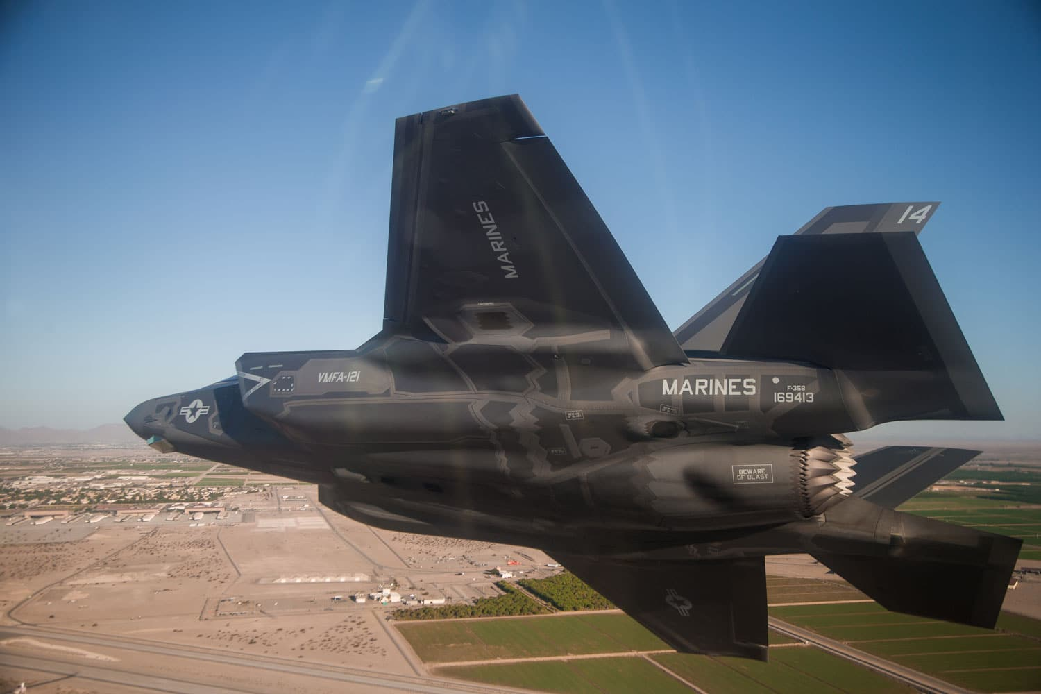 A U.S. Marine Corps F-35B Lightning II assigned to Marine Aviation Weapons and Tactics Squadron One prepares to land after a Tactical Intercept/Air Combat Maneuvering exercise during Weapons and Tactics Instructor Course near Yuma, Arizona.