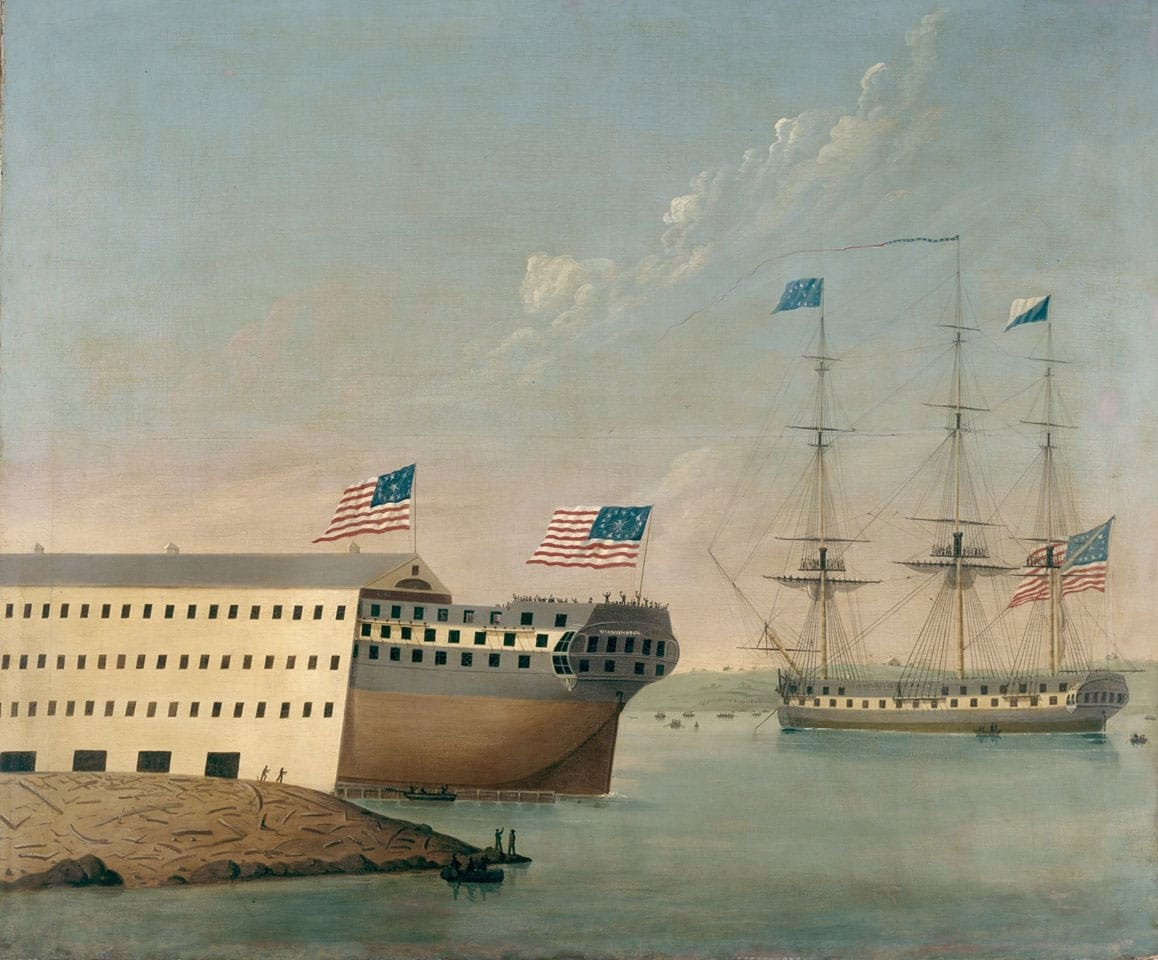 "On Oct. 1, 1814, Portsmouth Naval Shipyard launched its first new construction, the 74-gun ship of the line USS Washington. Image courtesy of Historic New England Collection ""The Launching of the USS WASHINGTON"" by John S. Blunt."