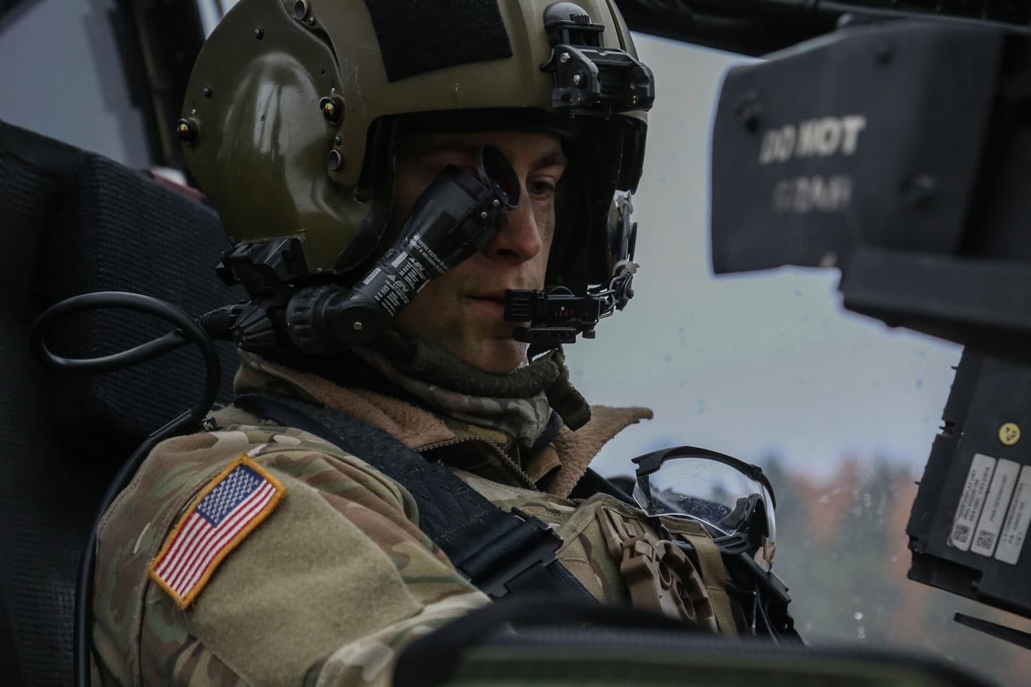 A U.S. Soldier of the 1st Battalion, 3rd Aviation Regiment performs pre-flight checks on a AH-64D Apache Longbow Helicopter during exercise Allied Spirit VII at the U.S. Army's Joint Multinational Readiness Center in Hohenfels, Germany.