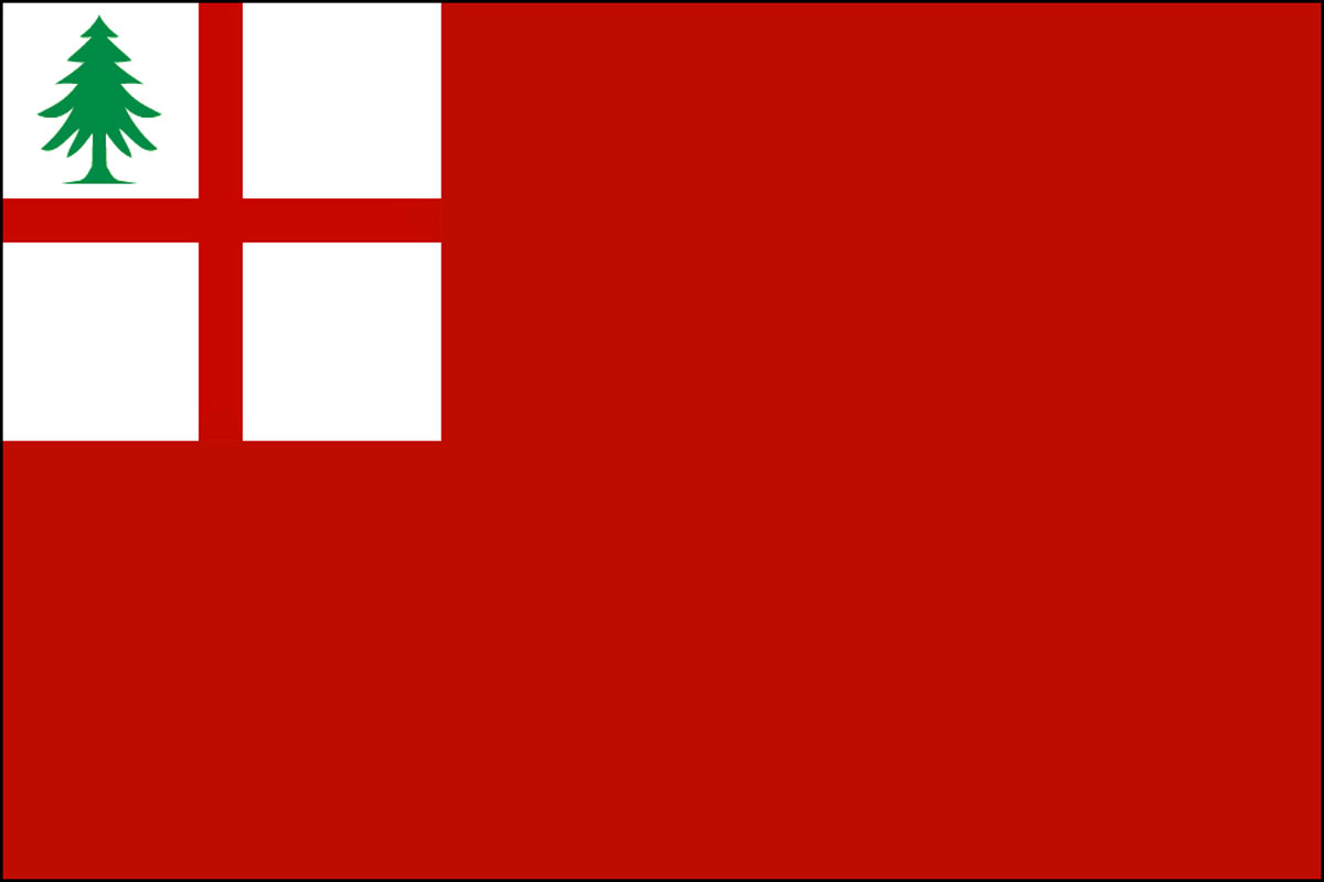 The Flag of New England – 1704: There is mention in 1704 of the Pine Tree Flag used in New England. It is described in one form as a red flag with a white canton quartered with the Red Cross of St. George having a green pine tree in the upper left quarter.
