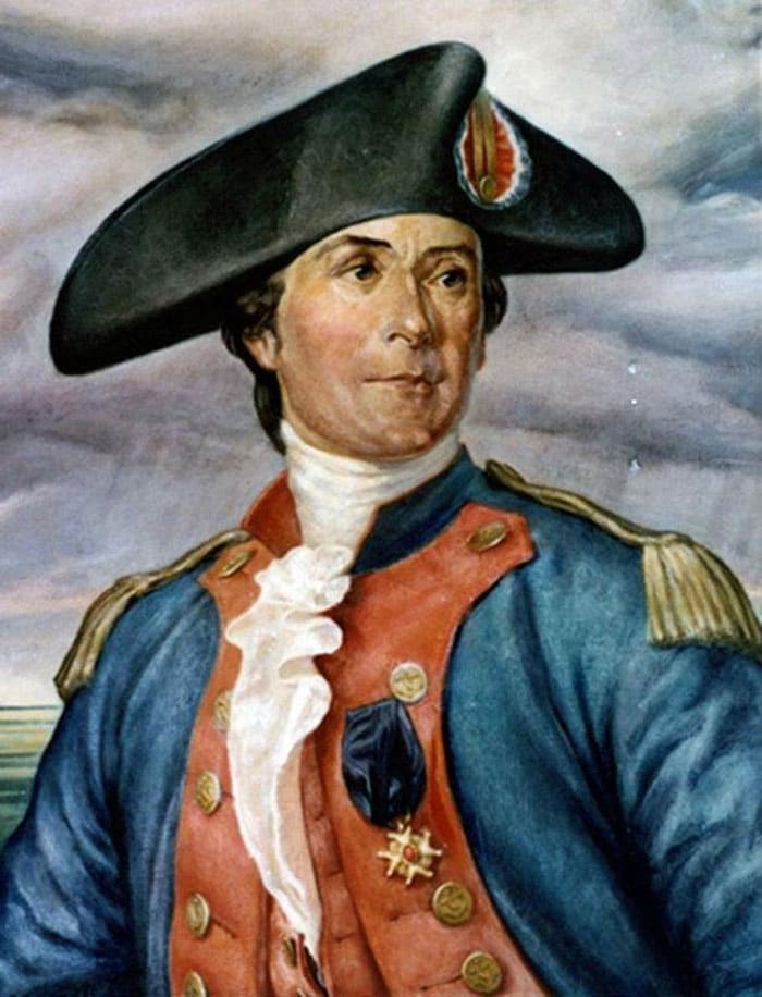 John Paul Jones is best remembered for his heroic defeat of the British 50-gun frigate Serapis on September 23, 1779. The three-hour battle off Flamborough Head, in which John Paul Jones, in command of Bonhomme Richard, was victorious over a vastly superior British foe, established the spirit from which has grown the greatest Navy the world has ever known.