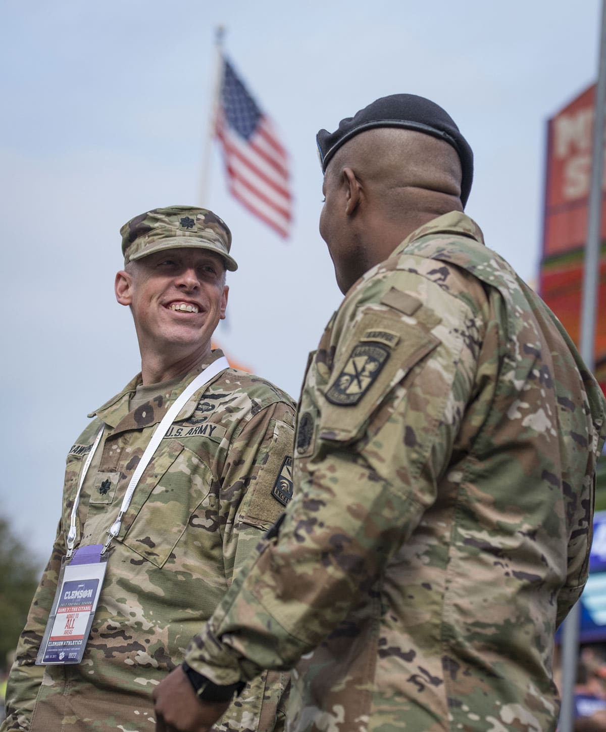 Clemson University professor of military leadership, U.S. Army Lt. Col. Kenneth Crawford, shares a laugh with military science instructor Sgt. 1st Class Lekendrick Stallworth during the 2017 Military Appreciation Game in Memorial Stadium.