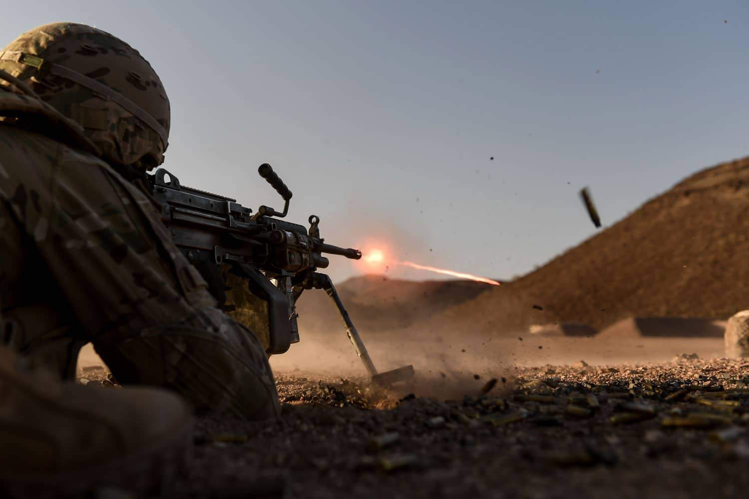 U.S. Army Soldiers assigned to Combined Joint Task Force-Horn of Africa's East African Response Force, conduct a series of team stress shoots and support by fire exercises in Djibouti, Africa.