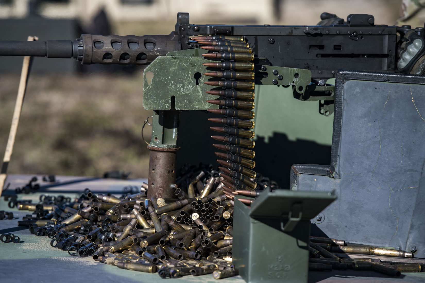 An Airman from the 823d Base Defense Squadron, readies a .50 Caliber M2 machine gun during a heavy weapons qualification.