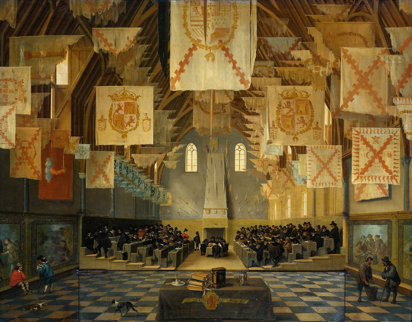 A flag of similar design hangs in the Binnenhof in The Hague circa 1651. The image of an arm holding a sword is common in European heraldry at least as early as the 16th century.