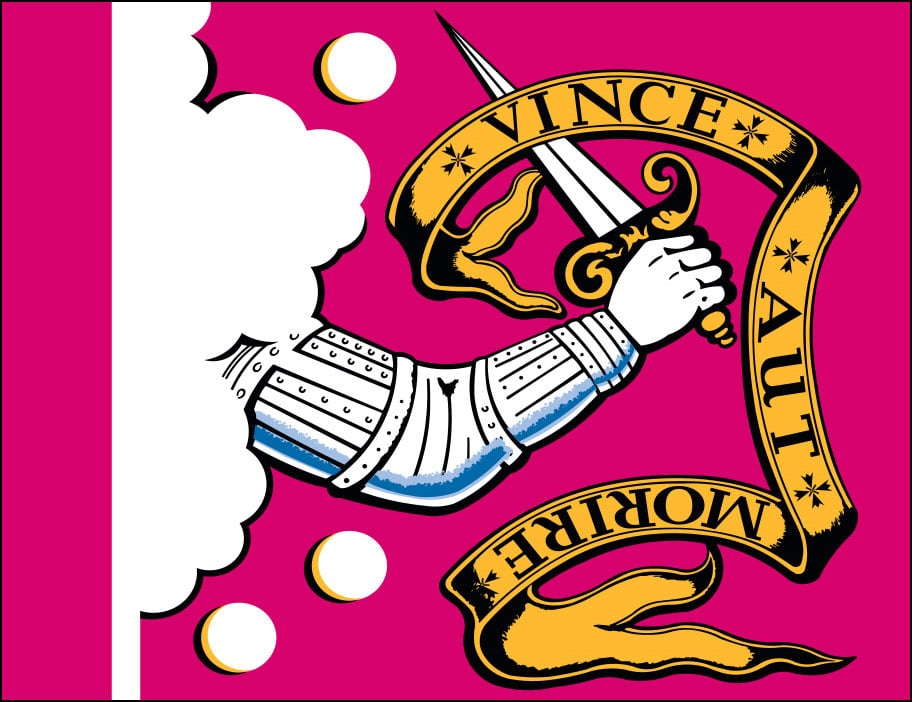 The Bedford flag ground is maroon color satin damask, emblazoned with an outstretched arm, silver colored, the hand of which grasps an uplifted sword.