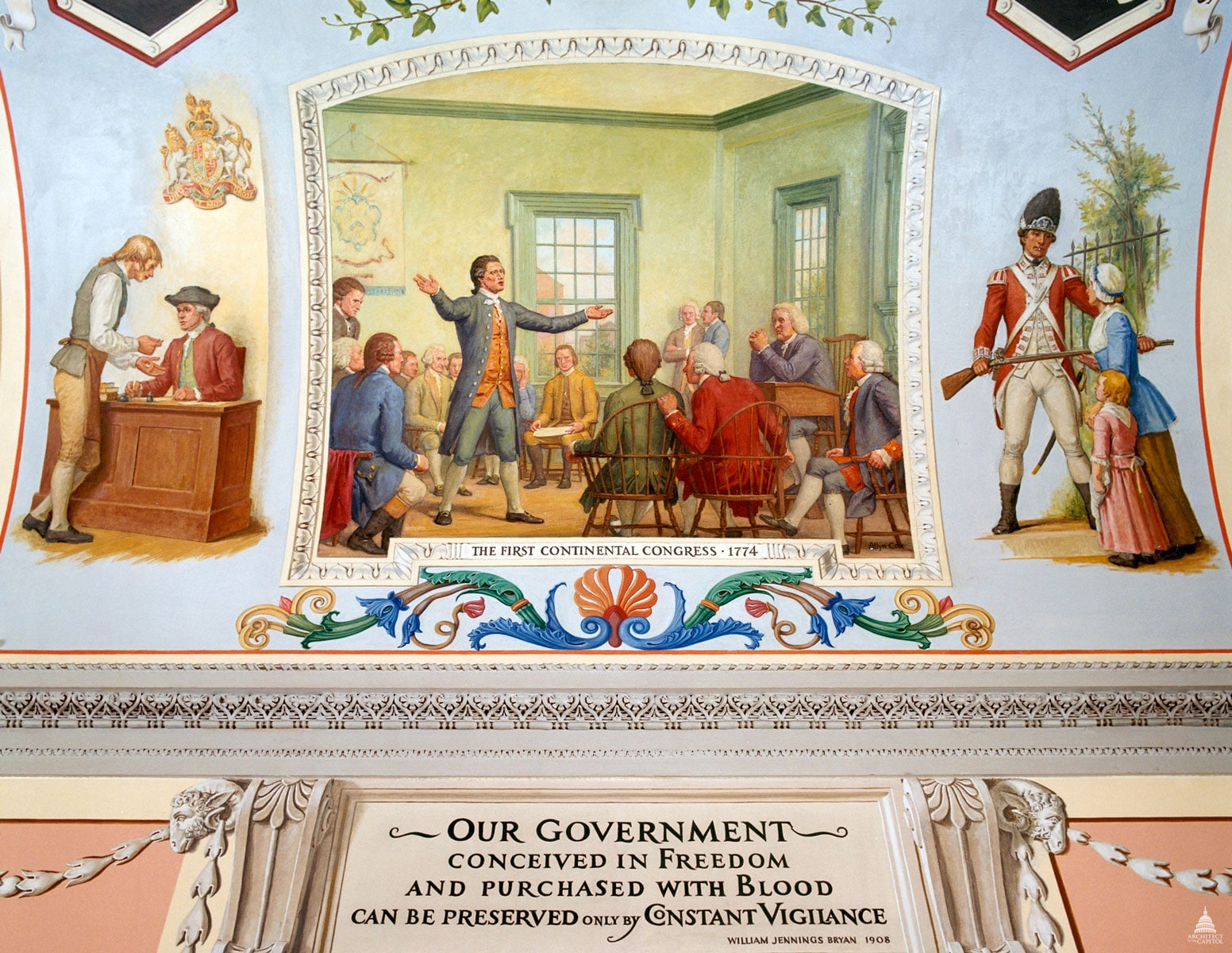 The First Continental Congress met in Carpenters' Hall, Philadelphia, on the 5th of September, 1774. This Congress resulted from an almost universal and simultaneous demand from the various colonies. The first call came from Virginia.