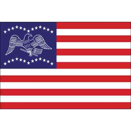 General Fremont Flag: The Fremont flag was unfurled by General Fremont from the summit of the Rocky Mountains, when he and his small party were on their way to California.