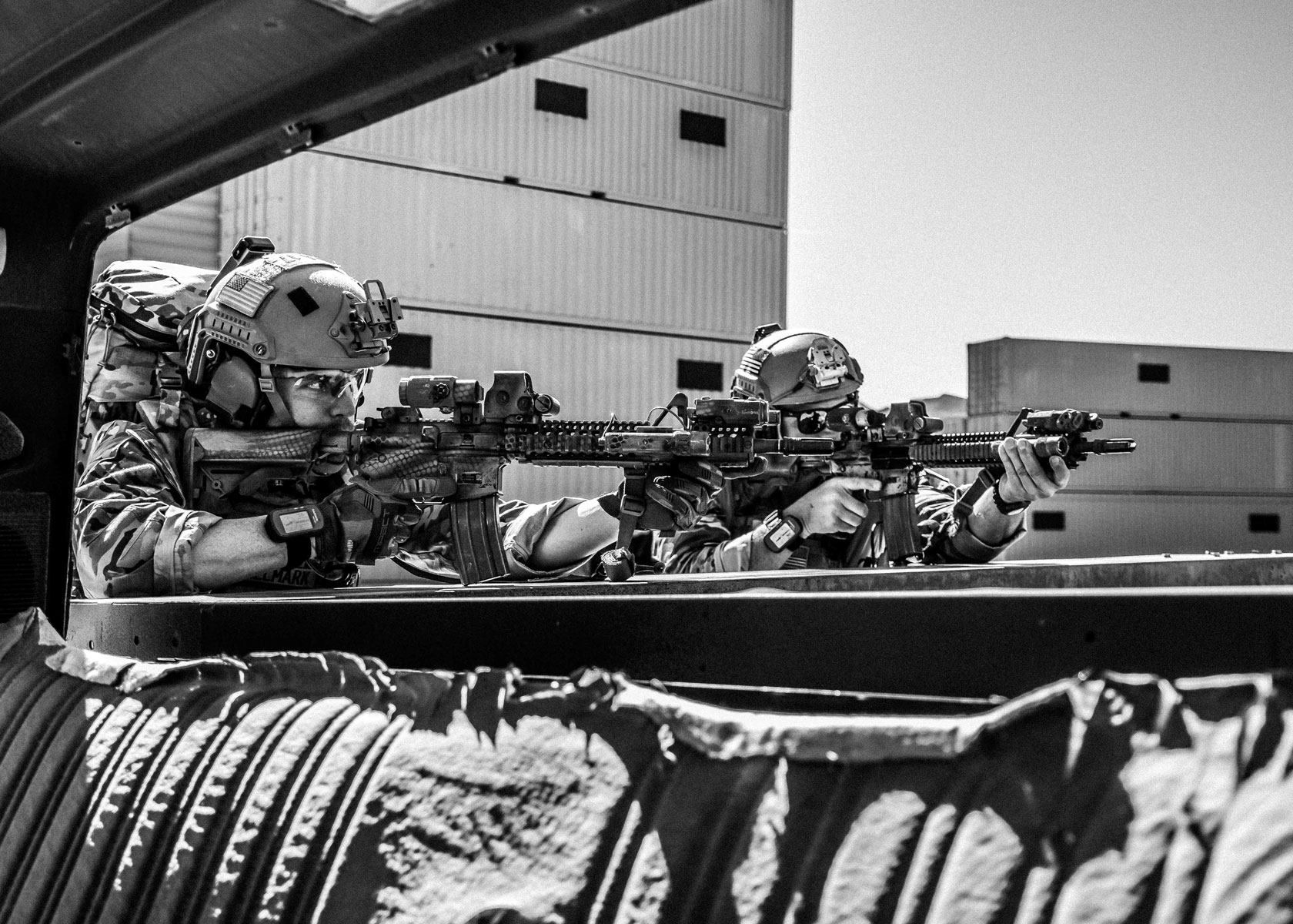 Green Berets from 10th Special Forces Group (Airborne) pull security during a training exercise March 6, 2017 at Nellis Air Force Base, Nevada.