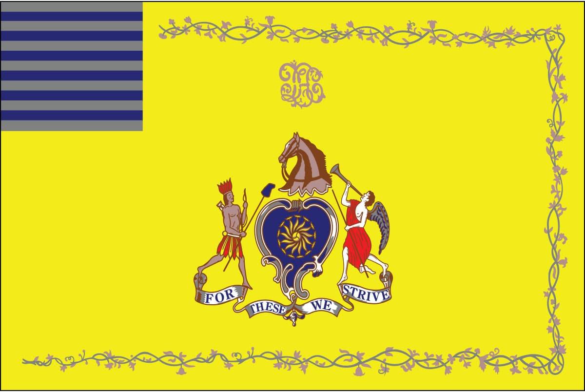 """Philadelphia Light Horse Flag: It's motto; """"For These We Strive"""""""