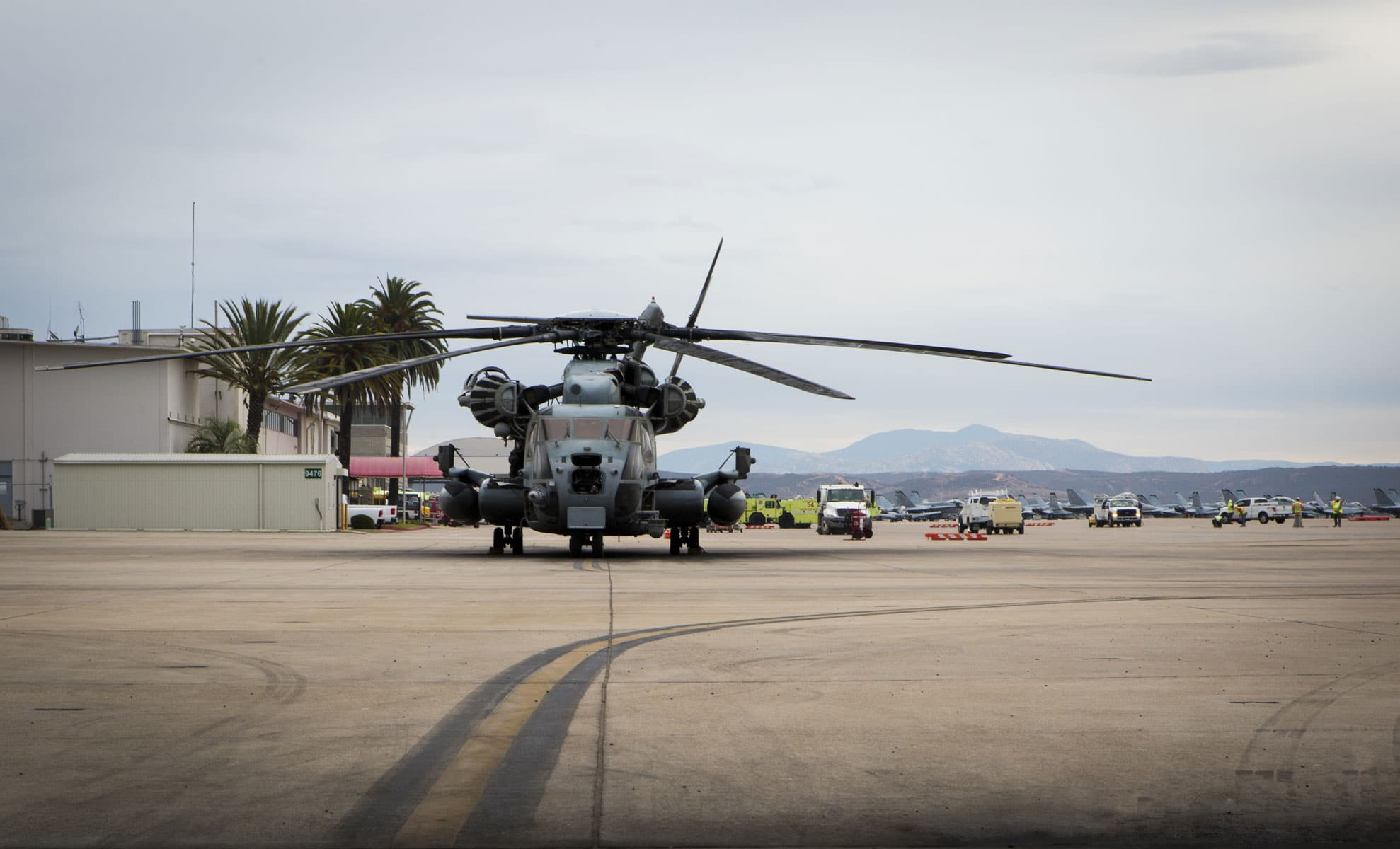 A CH-53E Super Stallion with Marine Heavy Helicopter Squadron (HMH) 361 prepares to launch from Marine Corps Air Station Miramar, California.