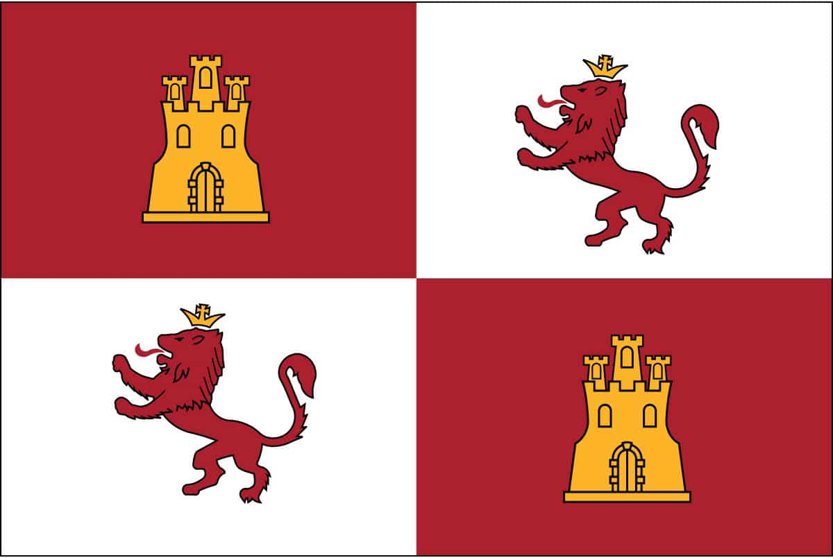 The Royal Standard Flag of Spain was composed of four sections, two with yellow castles upon red and two with red rampant lions upon white ground. When Columbus in 1498 reached the Continent he planted the Spanish banners at the mouth of the Oronoco.